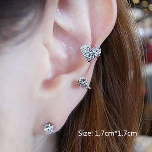 Jewelry - Silver crystal heart pierced ear cuff. NWT